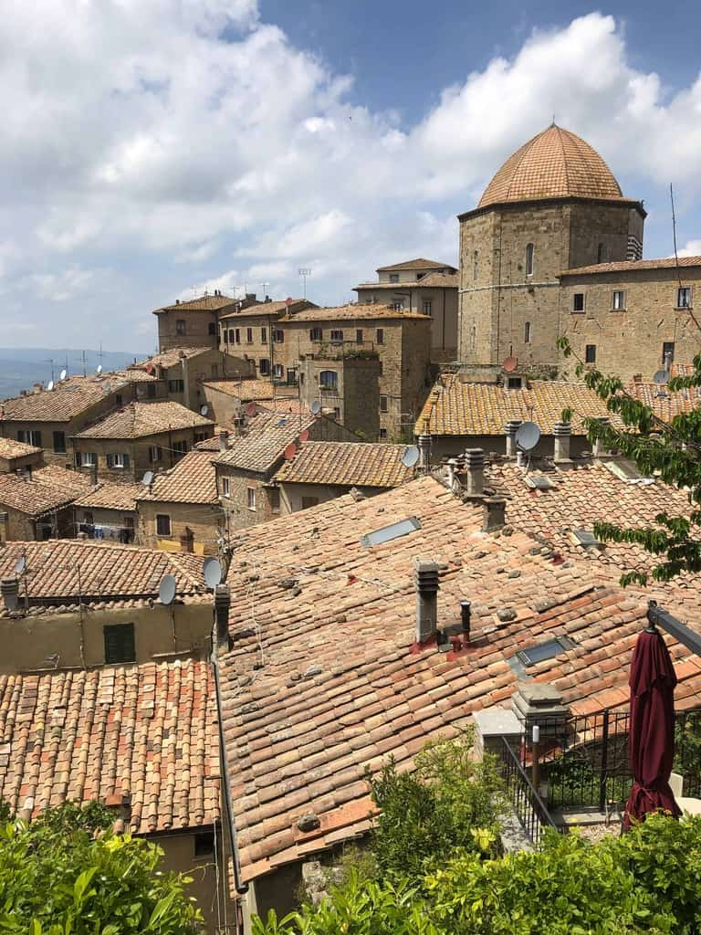 Red tile roof tops of Volterra, Italy