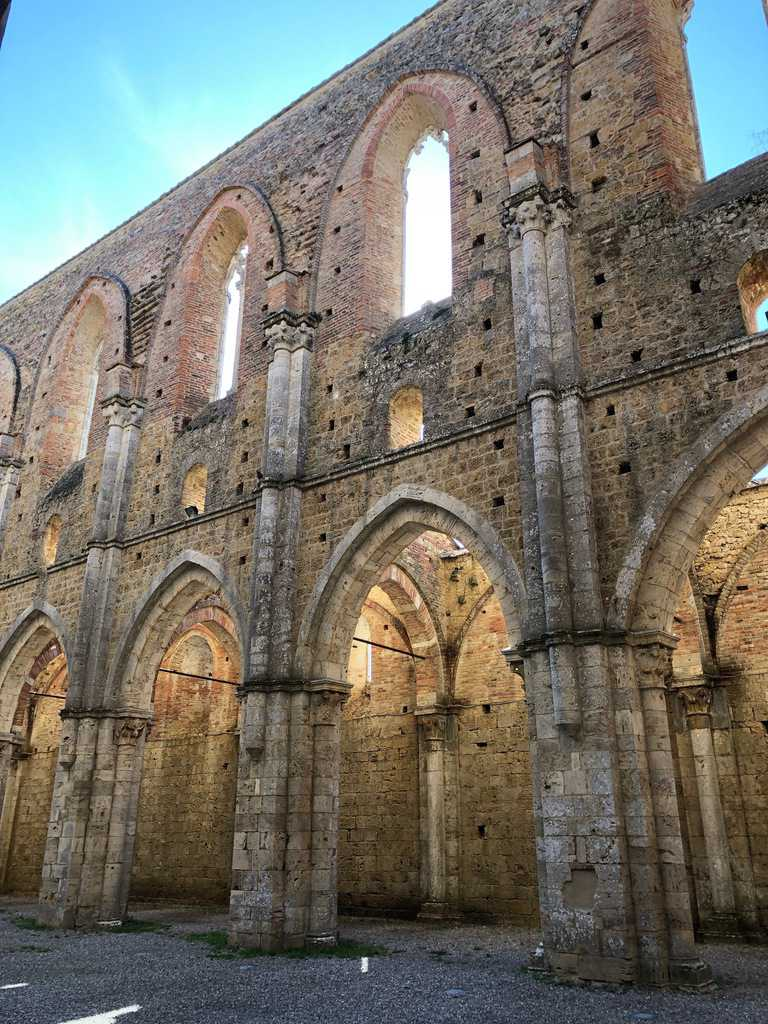 Close-up of stone archways at San Galgano