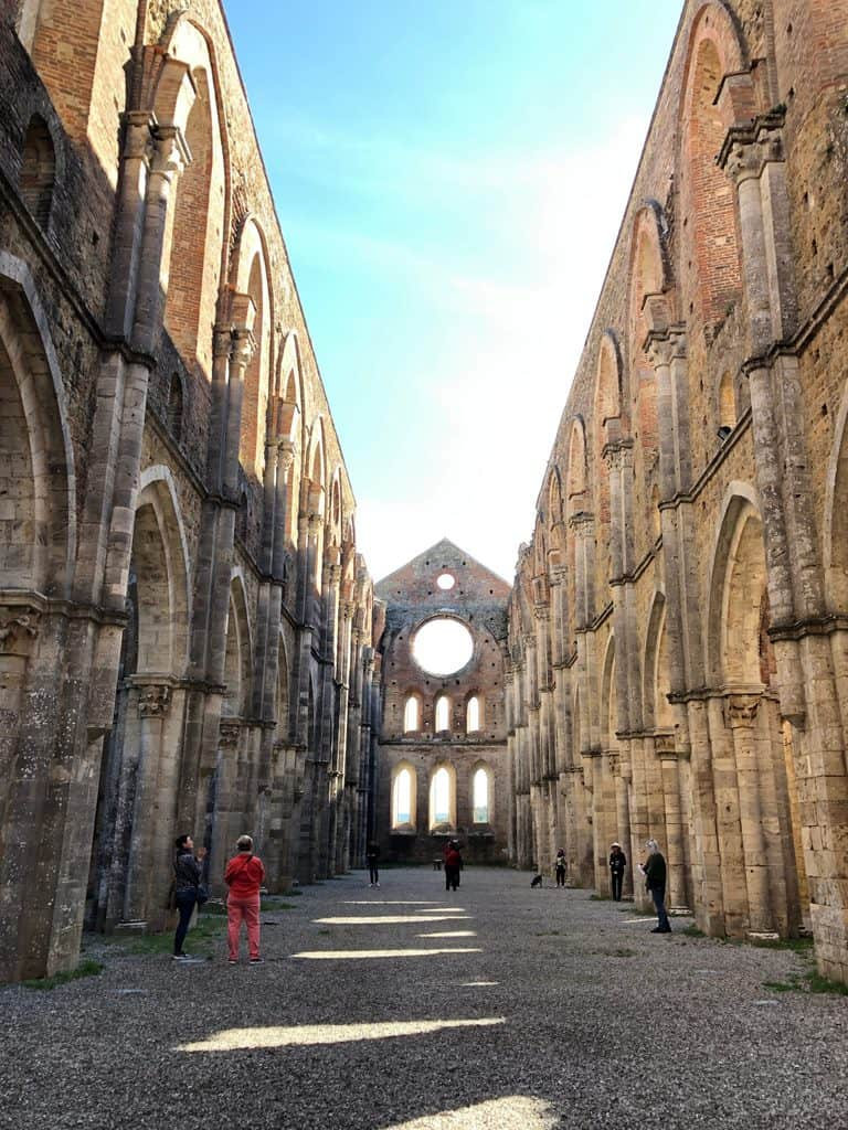 Interior walls with no roof of the Abby of San Galgano