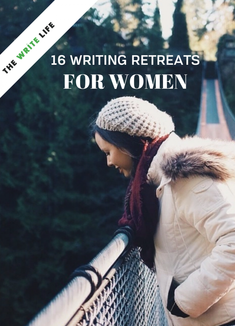 Graphic promoting A Writer Within's inclusion on a list of 16 writing retreats for women.